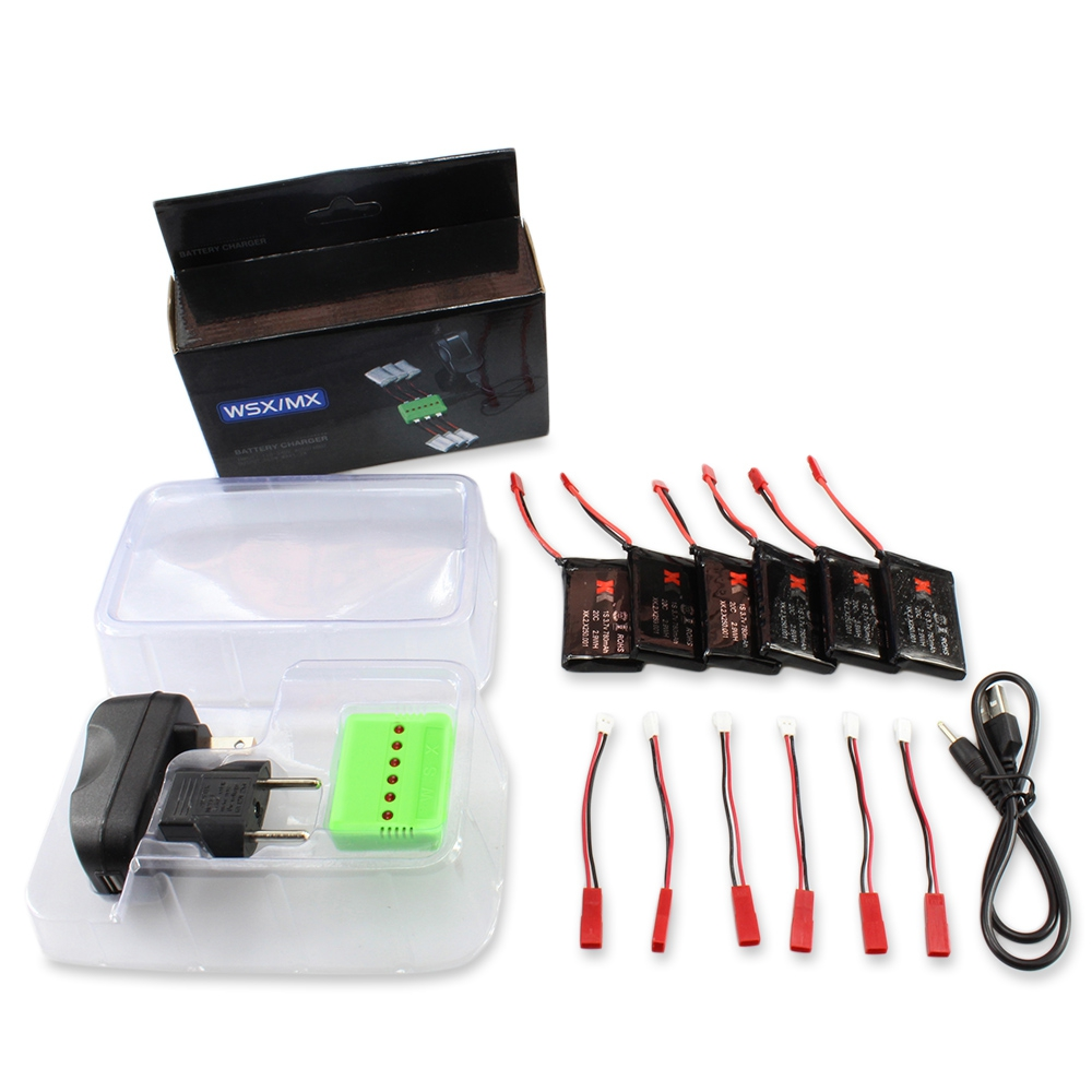WSX / MX X6A - B06 6PCS 3.7V 780MAH 20C BATTERY WITH CHARGER / CABLE