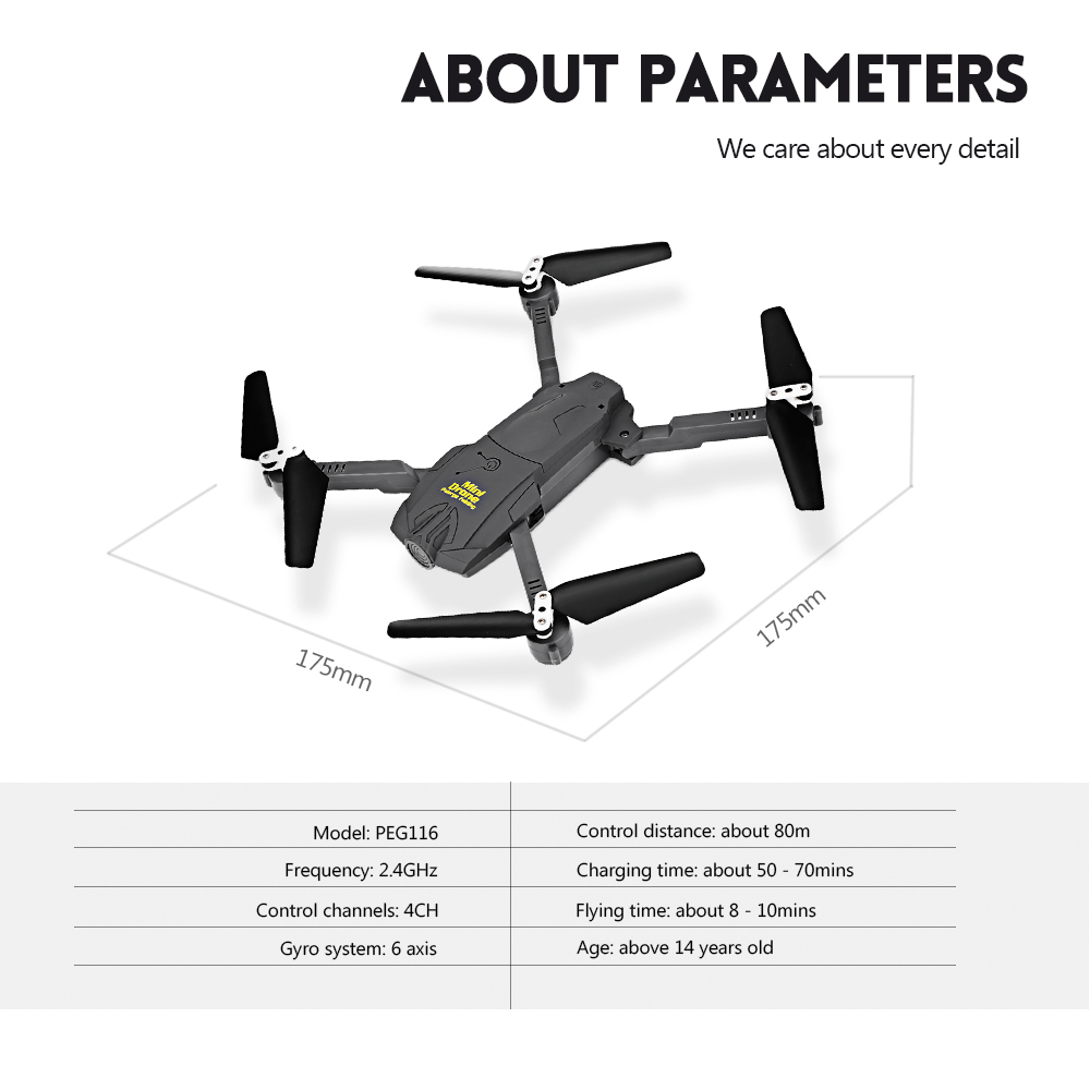 Paierge PEG116 RC Quadcopter 2.4G 4CH 6-axis Gyro Headless High Hold Mode 3D Unlimited Flip Drone RTF