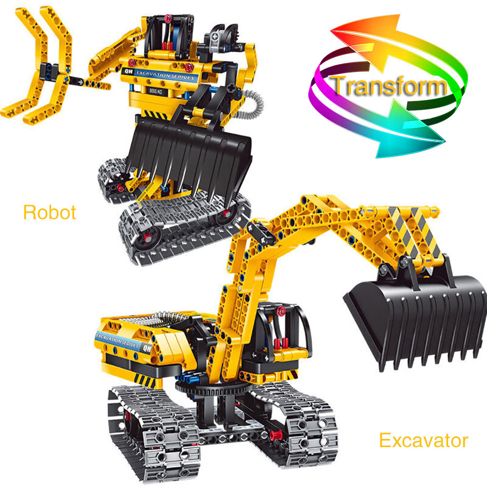 2 in 1 Excavator Engineering Machines Assembled Toy 342pcs