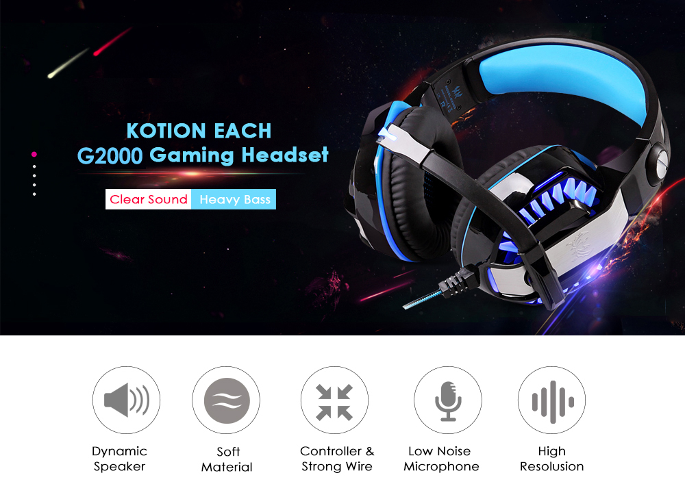 KOTION EACH G2000 Stereo Gaming Headset 2.2m Cable LED Light Over-ear Headphones with Mic for Computer Game