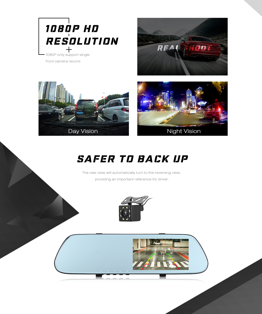 GOU US66 Rear Mirror Dual Camera Dash Cam 170 Degree Wide Angle Lens 1080P Car Driving Recorder