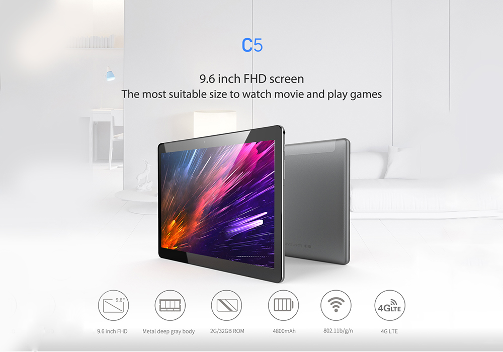 ALLDOCUBE C5 4G Phablet 9.6 inch Android 7.0 MTK6737 1.3GHz 2GB RAM 32GB eMMC ROM Dual SIM Cards Front Rear Double Cameras
