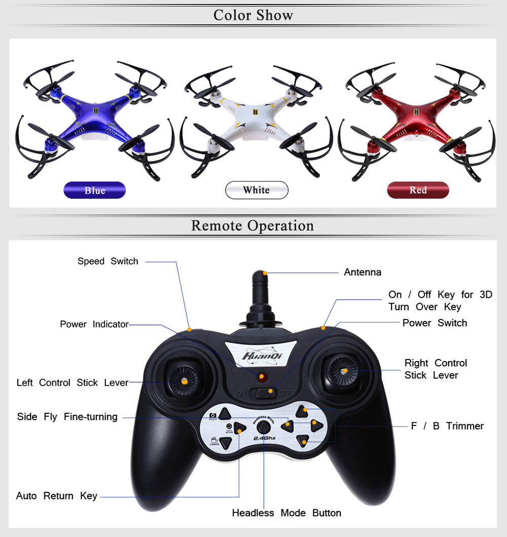 Huanqi 894 2.4G 4CH 6-Axis Gyro RTF Remote Control Quadcopter Aircraft Toy