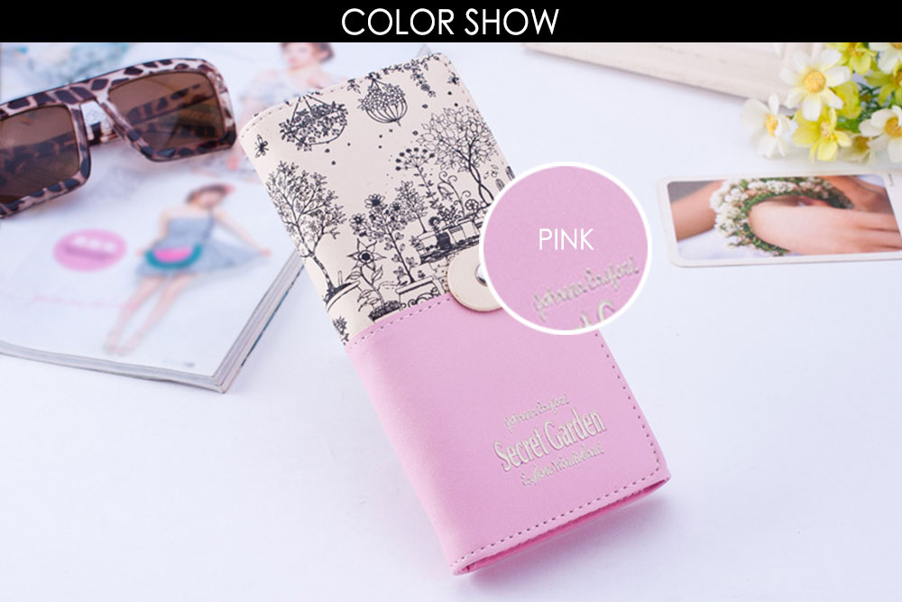 Landscape Image Print Letter Embellishment Snap Fastener Long Clutch Wallet for Lady