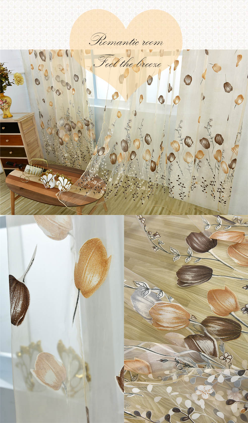 100 x 200cm Chiffon Gauze Voile Wall Room Divider Tulip Floral Printed Window Curtain