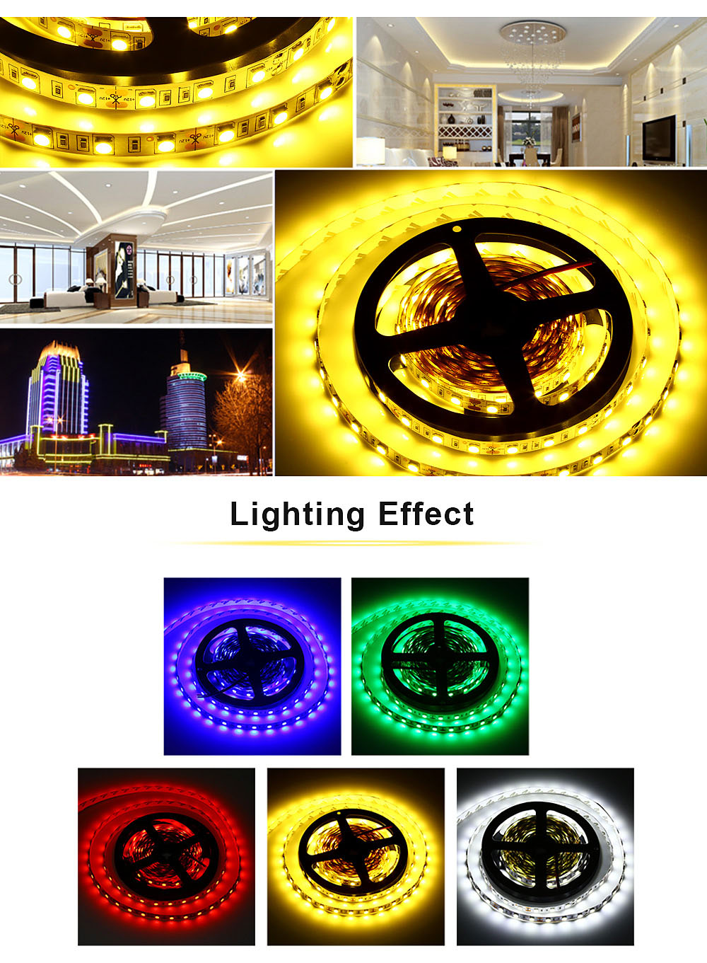 5M 300 LEDs SMD 5050 Flexible Strip Light Christmas Decorative Lamp