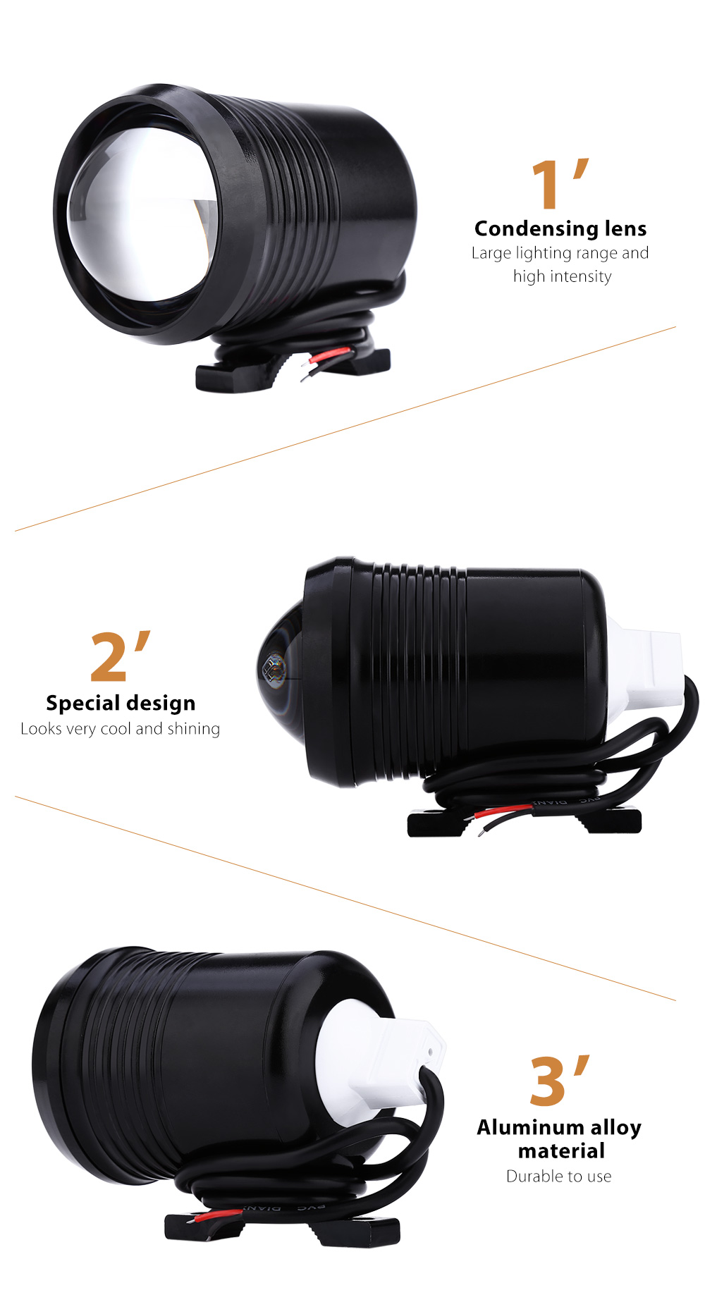 30W 12V 1500LM U2 LED Transform Spotlight Driving Headlight Fog Lamp for Motorcycle