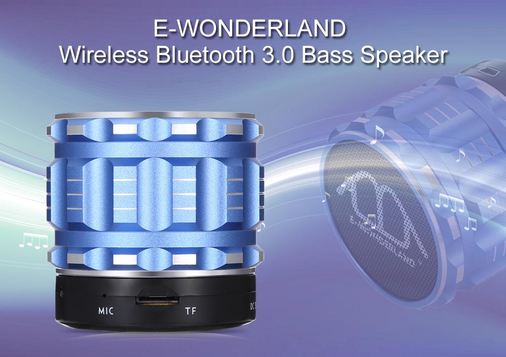 E-WONDERLAND Mini Wireless Bluetooth Bass Speaker Support FM Handsfree AUX TF Card Input