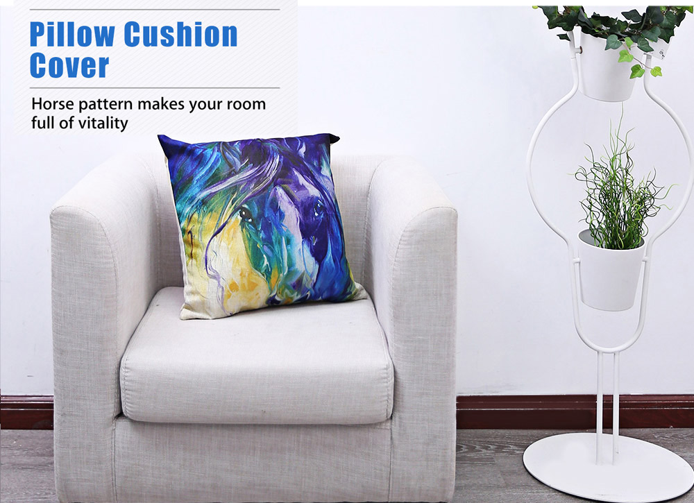 45 x 45CM Horse Pattern Cushion Cover Cotton Linen Pillow Case Home Decor