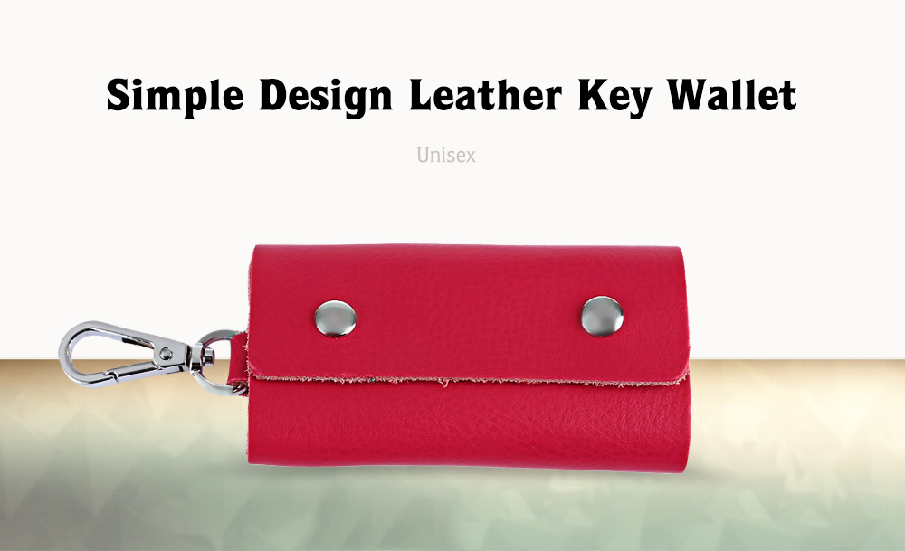 Unisex Candy Colors Soft Leather Key Wallet with Snap Hook