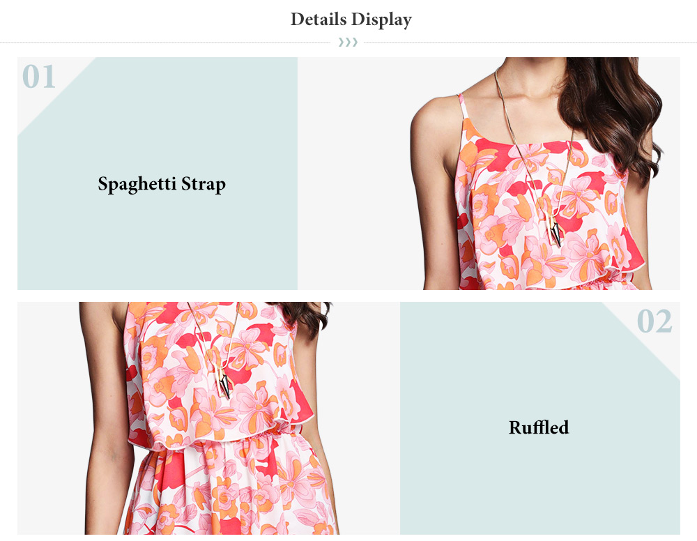 Active Spaghetti Strap Floral Print Flounce Jumpsuit for Women
