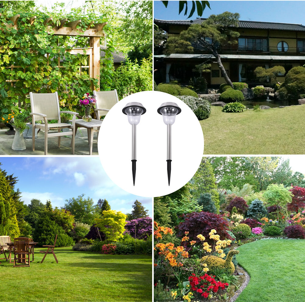 Outdoor 2PCS Solar Powered LED Lawn Light Rechargeable Landscape Lights Wall Security Lamp