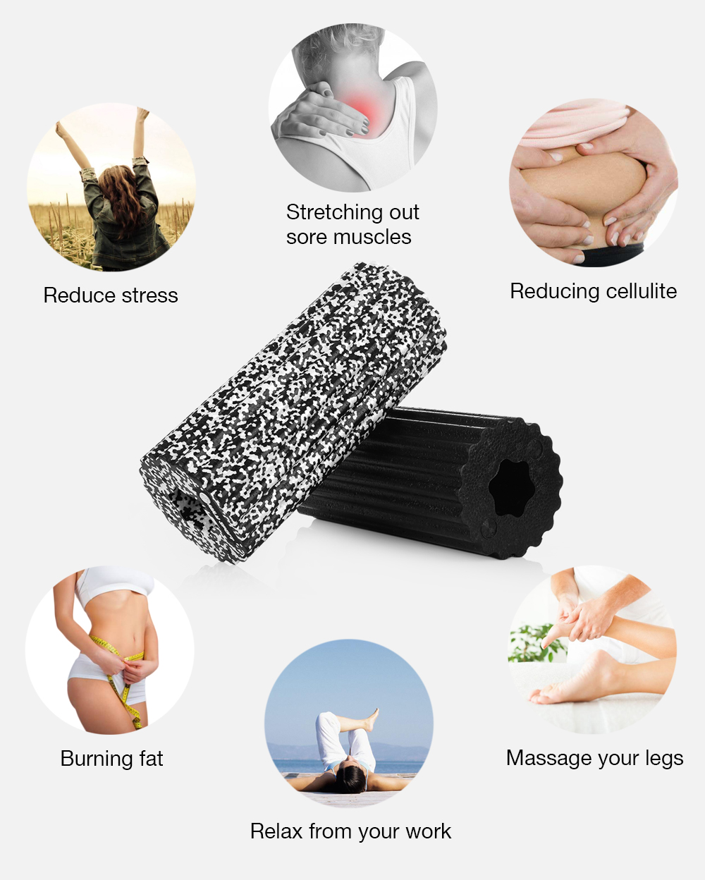 MILY SPORT Muscle Feet High Density Lightweight Yoga EPP Foam Roller for Gym Exercises Physio Massage Stretching