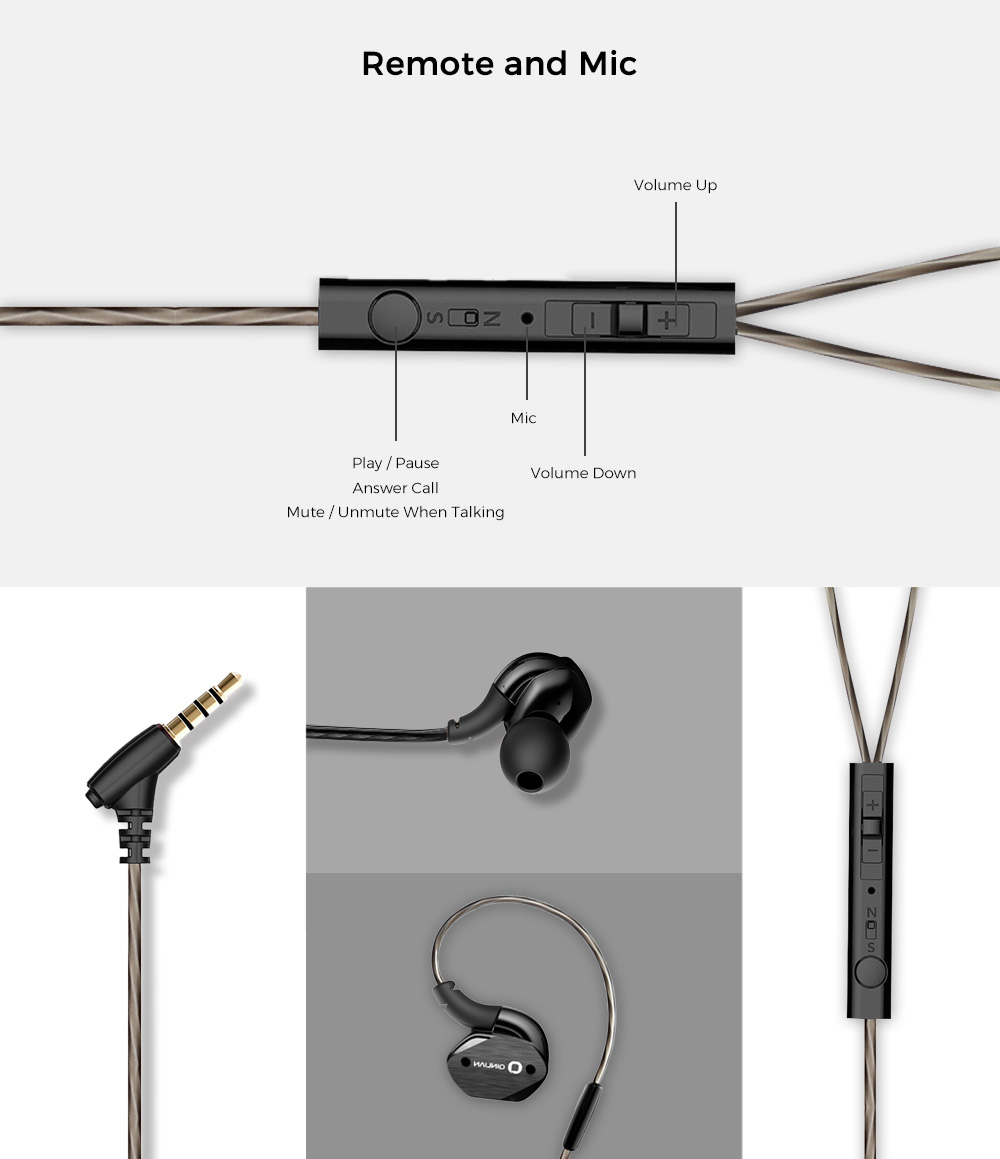 Qinlian QY502 3.5MM Stereo Wired In-ear Earphones