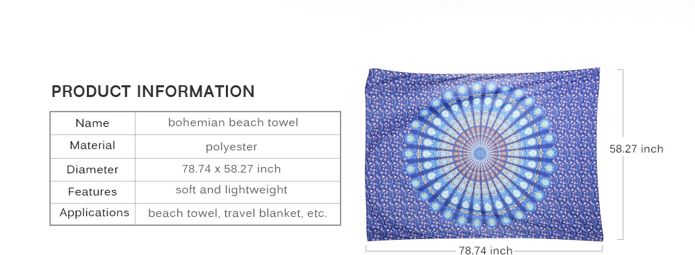200 x 148cm Bohemian Style Thin Chiffon Beach Towel Wall Hanging Home Decor