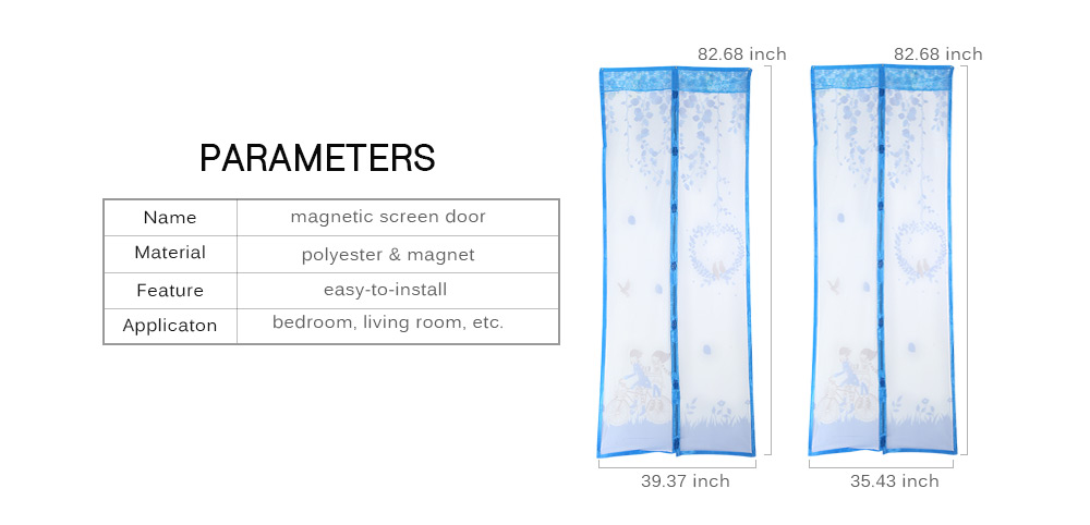 Willow Branches Pattern Magnetic Screen Door Anti-mosquito Magnet Mesh Gate