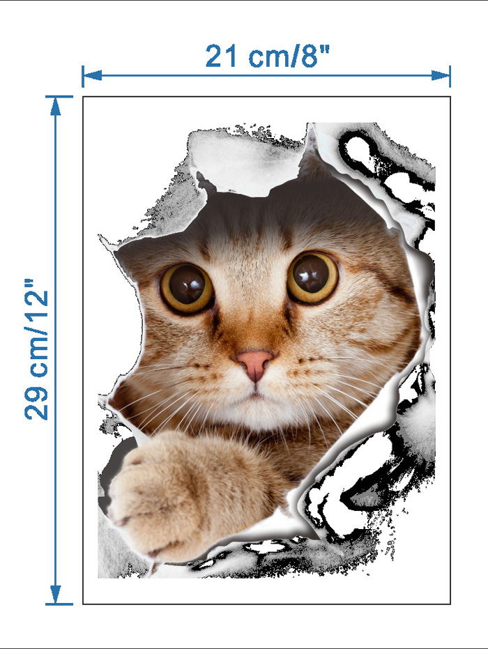 Creative Cat Art Removable 3D Toilet Cover Stickers