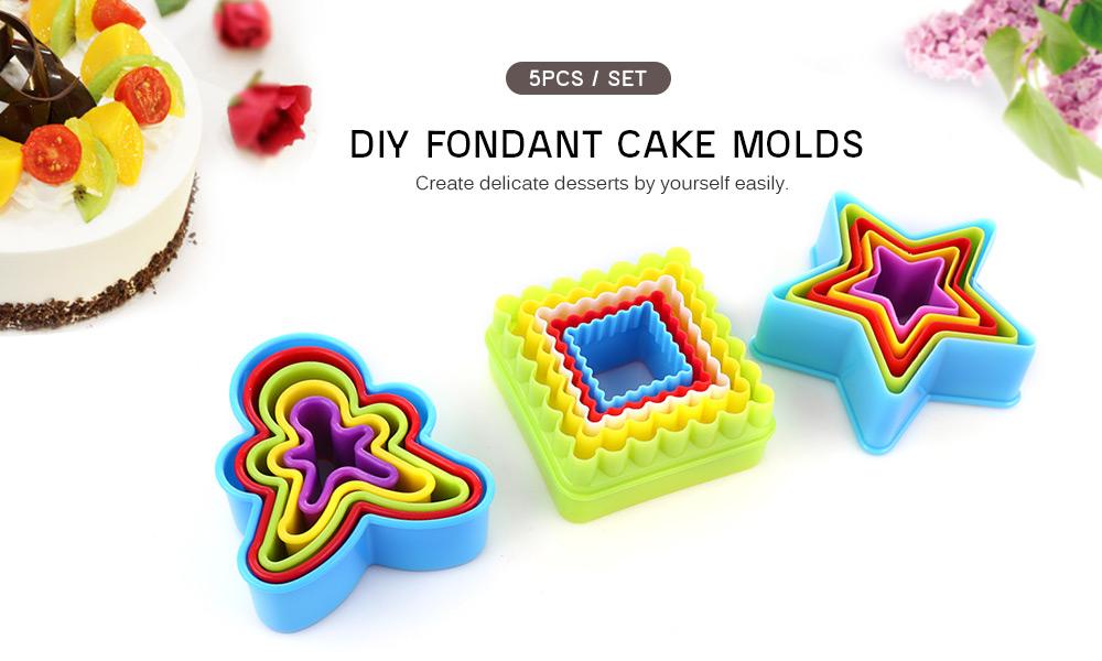 5 PCS DIY Fondant Cake Molds Baking Tool