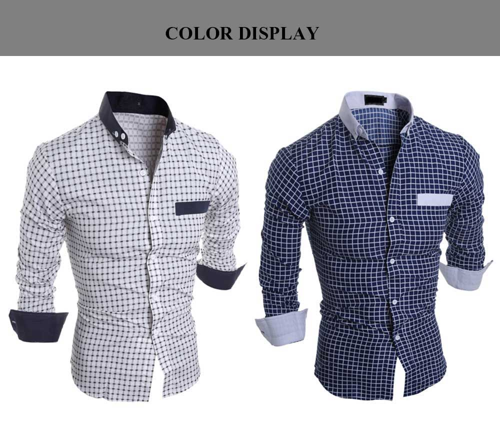Casual Slim Fit Lattice Turn Down Collar Long Sleeve Men Shirt