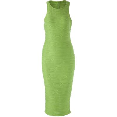 STYLISH ROUND COLLAR SOLID COLOR PACKET BUTTOCK BODYCON SLEEVELESS WOMEN'S DRESS