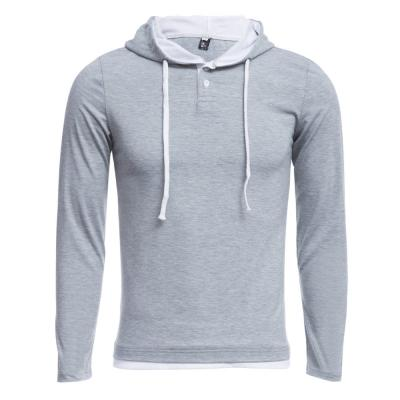 CASUAL PURE COLOR LONG SLEEVE MALE SLIM FIT HOODED SHIRT (LIGHT GRAY M/L/XL/XXL)