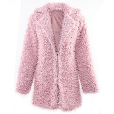 STYLISH ELEGANT TURN-DOWN COLLAR THREE QUARTER SLEEVE HAIRY WOMEN OUTWEAR TOP (PINK, SIZE S/M/L)