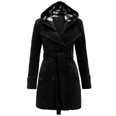 TRENDY HOODED DOUBLE-BREASTED POCKET OVERCOAT FOR WOMEN (BLACK, SIZE M/L/XL/2XL)